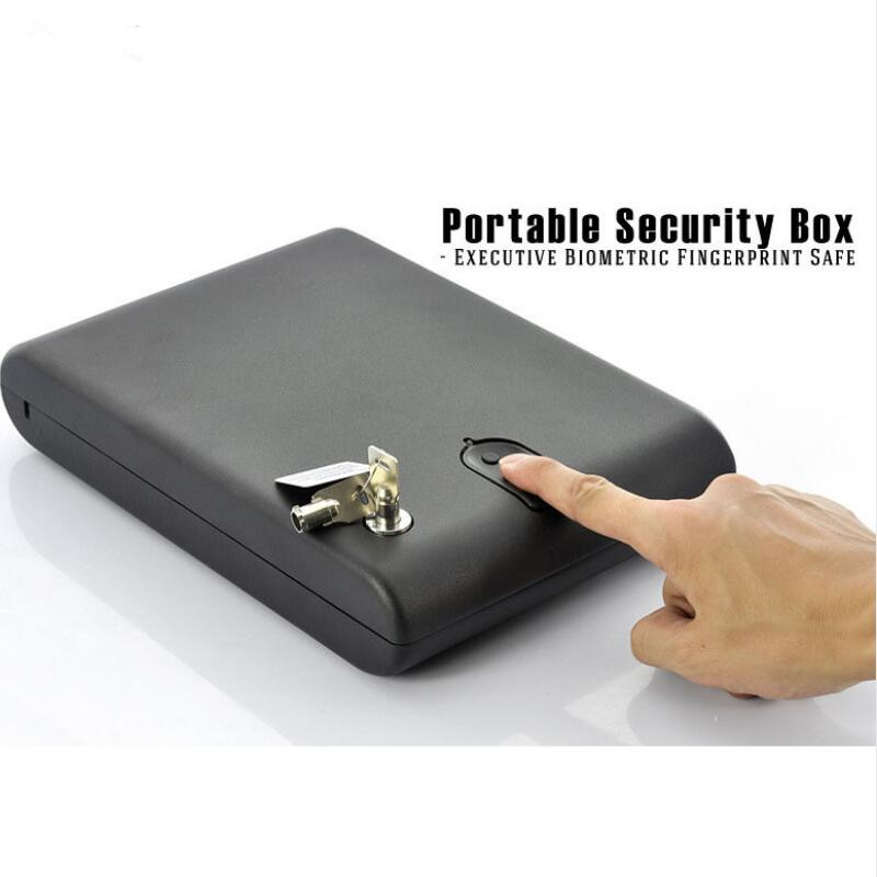 Fingerprint Safe Gun Box Solid Steel Security Key Valuables Jewelry Box Protable Security Biometric Fingerprint Safes Strongbox protable safes strongbox fingerprint safe box security fingerprint and key lock 2 in 1 valuables jewelry box for car household
