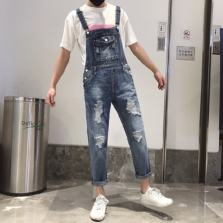 Jeans 2019 Male Hip Hop Ripped Blue Denim Jumpsuits Cool Distrressed Suspenders Harem Pants Fashion Bib Jean Overalls A51808 Careful Calculation And Strict Budgeting