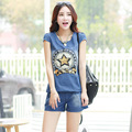 Small fragrant new summer fashion jacket size casual denim shorts suit female
