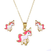 Fashion Pink Horse Jewelry Sets For Women Girl Animal Earrings Decoration Necklaces Wedding Accessories Gift все цены