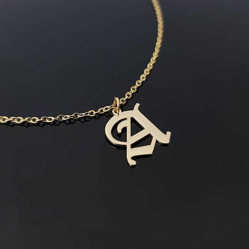 Индивидуальное одиночное Старое Английское ожерелье с подвесками с инициалами для женщин именной, буква Шарм имя готические ювелирные изделия цвета розового золота