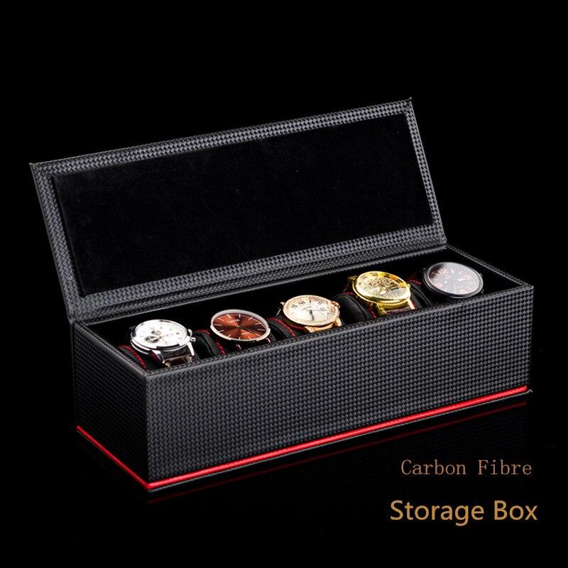 Nouveau 5 fentes en cuir montre boîte de rangement boîtier noir en fibre de carbone montre boîte d'affichage hommes mécanique montre cadeau étui W028