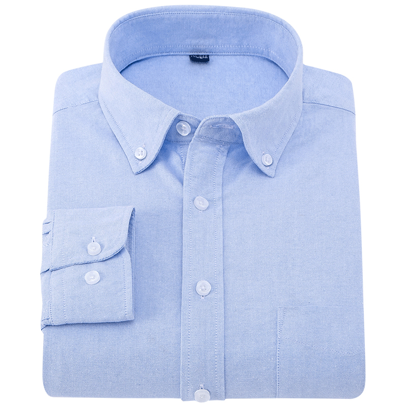 Men's 100% Cotton Solid Oxford Casual Shirt With Chest Pocket Comfortable Long Sleeve Standard-fit Button Down Dress Shirts