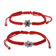 Lucky Kabbalah Red String Hamsa Bracelets Blue Evil Eye Fatima Hand Jewelry(China)