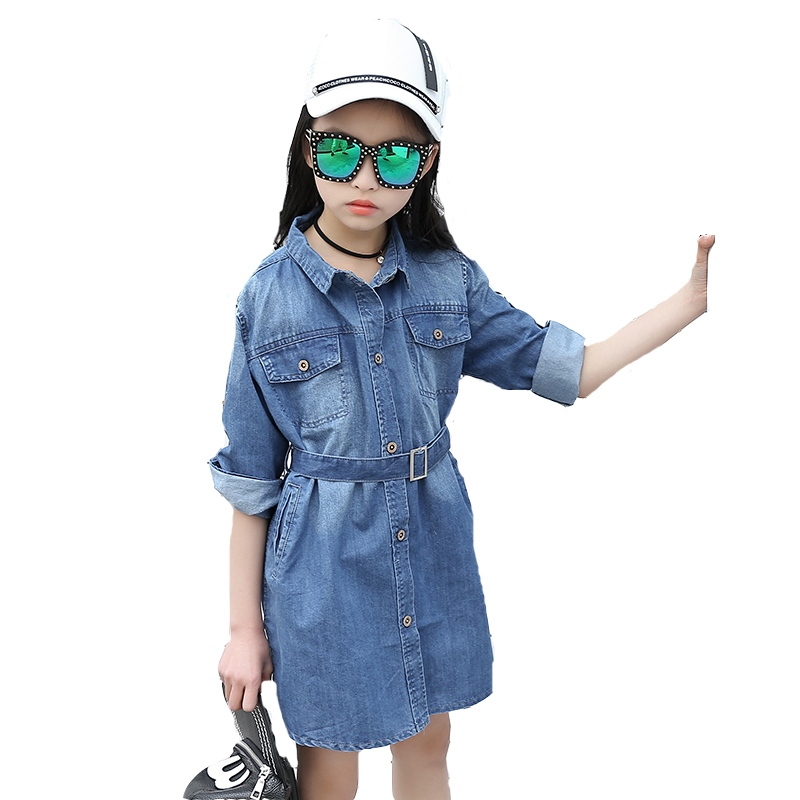 цены  Kids Dresses For Girls Blouses Long Sleeve Denim Shirt Dresses Girls Tops Spring Autumn Children Outerwear 2 4 6 7 8 10 12 Years