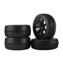 2 Pair 85mm Wheel Hub Rim & Rubber Tires For 1:10 Off-Road RC Car Buggy Tires Spare Parts Accessorie