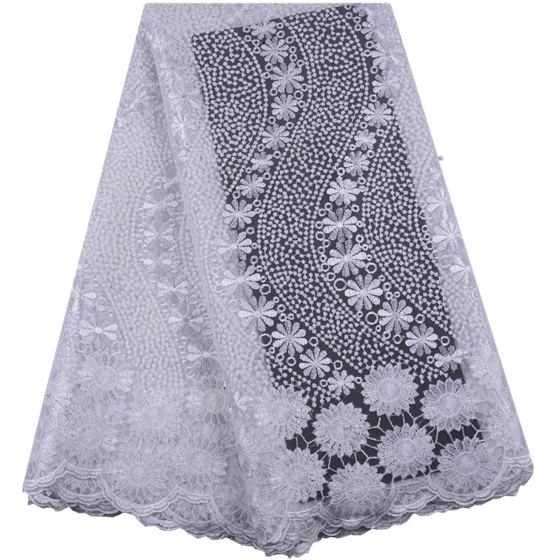 New Arrival Pure White African Tulle Mesh Lace Fabric Wholesale 2019 French Net Lace Fabric With