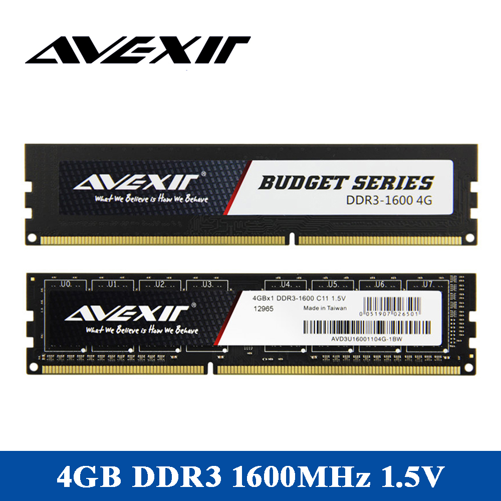 AVEXIR RAM DDR3 4GB/8GB 1600MHz Memory Voltage 1.5V Desktop memory PC3-12800 Interface Type 240pin 11-11-11-28 CL=11 3years RAMs