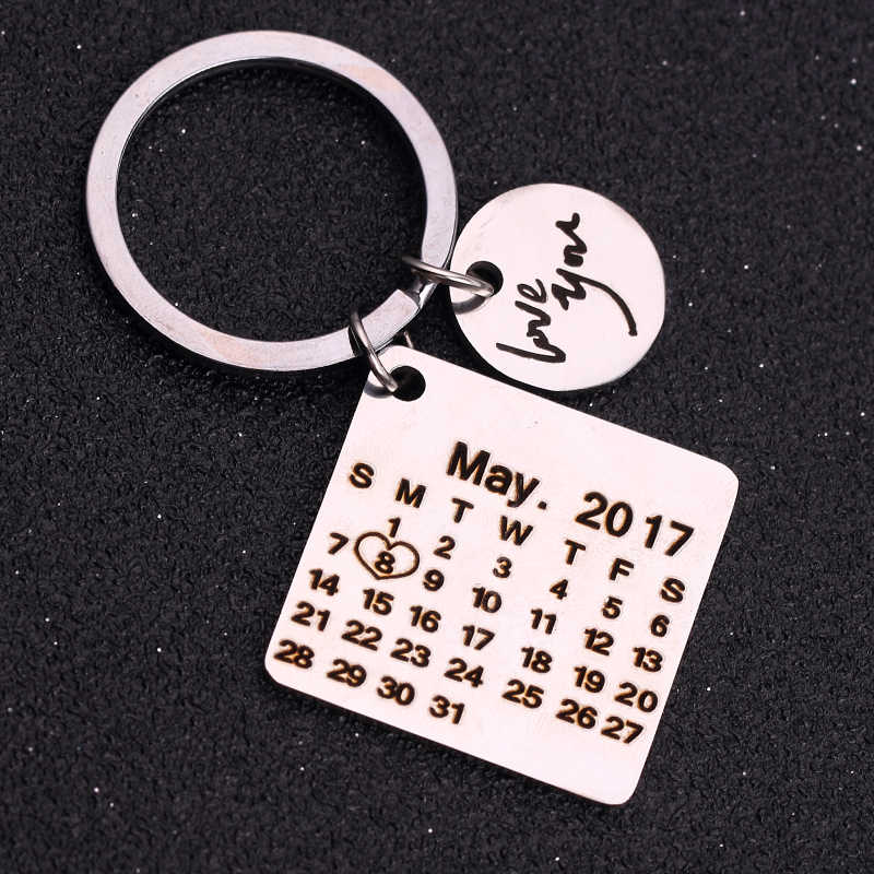 Custom Custom เครื่องประดับพวงกุญแจปฏิทินสแตนเลสไม่จางหายแกะสลักพิเศษวันเกิดครบรอบของขวัญ