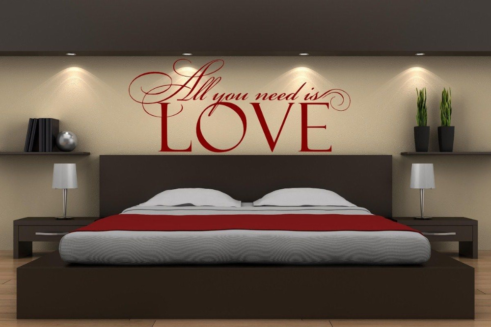 Personality Bedroom Vinyl Wall Stickers All You Need Is LOVE Smart Wall  Stickers Decal Home Design Removable Wallpaper SA143