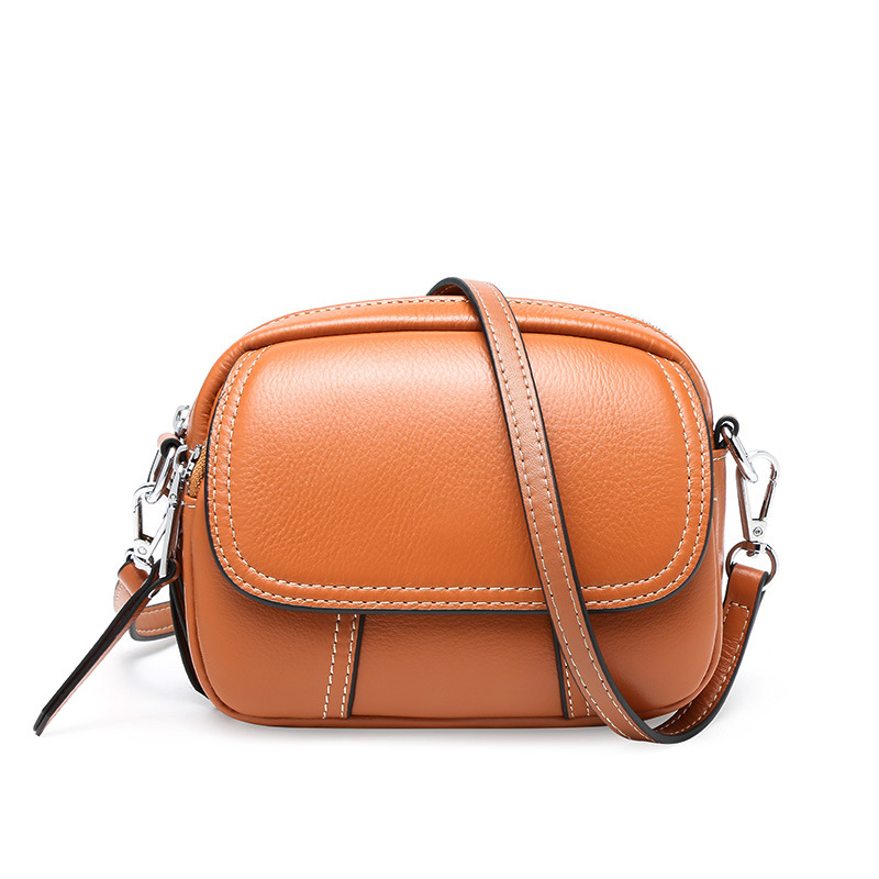 Circular Genuine Leather Small Messenger Bag for Women Soft Clutch Cowhide Bag Fashion Long Shoulder Strap Mini Bags 5 Colors