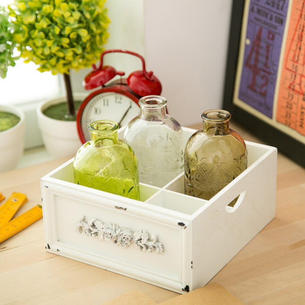 1 st Ny KEYAMA snidade genomskinliga färgade glasvas kitch driftflaskor Avfallsflaskor Heminredning