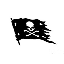 15cm x 10cm Pirate Flag Symbol Funny Car Sticker For Truck Window Bumper Auto SUV Door Laptop Kayak Vinyl Decal(China)