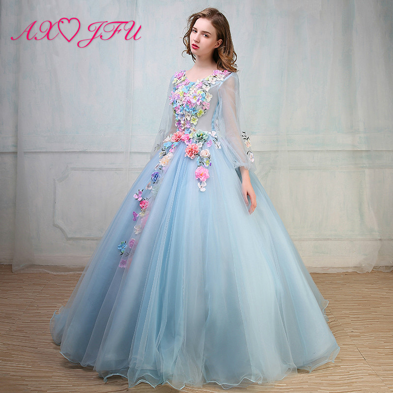 AXJFU blue lace   evening     dress   pink flower princess   evening     dress   any flower blue lace princess   evening     dress