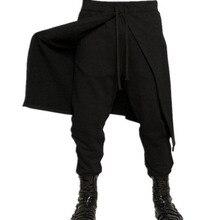 INCERUN мужские повседневные Длинные шаровары с эластичной резинкой на талии, мешковатые однотонные Лоскутные черные длинные штаны на шнуровке, панталоны размера плюс