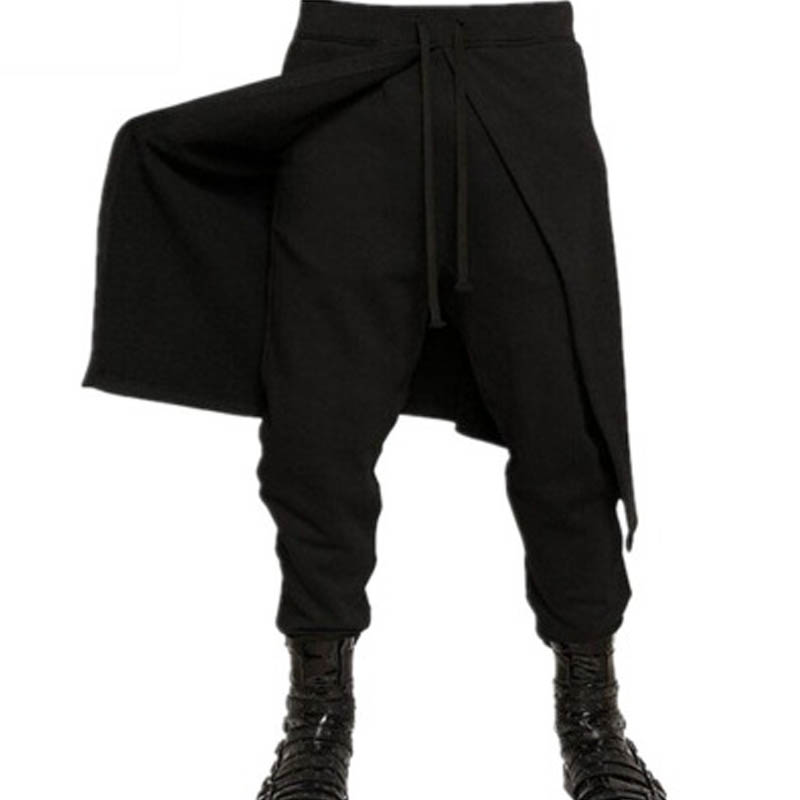 2019 INCERUN Men Elastic Waist Casual Long Harlan Pants Baggy Solid Lace-up Patchwork Black Long Trousers Pantalon Plus Size
