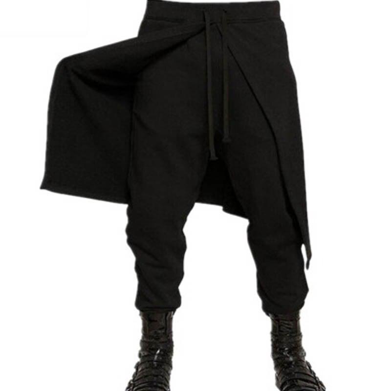 2020 INCERUN Men Elastic Waist Casual Long Harlan Pants Baggy Solid Lace-up Patchwork Black Long Trousers Pantalon Plus Size