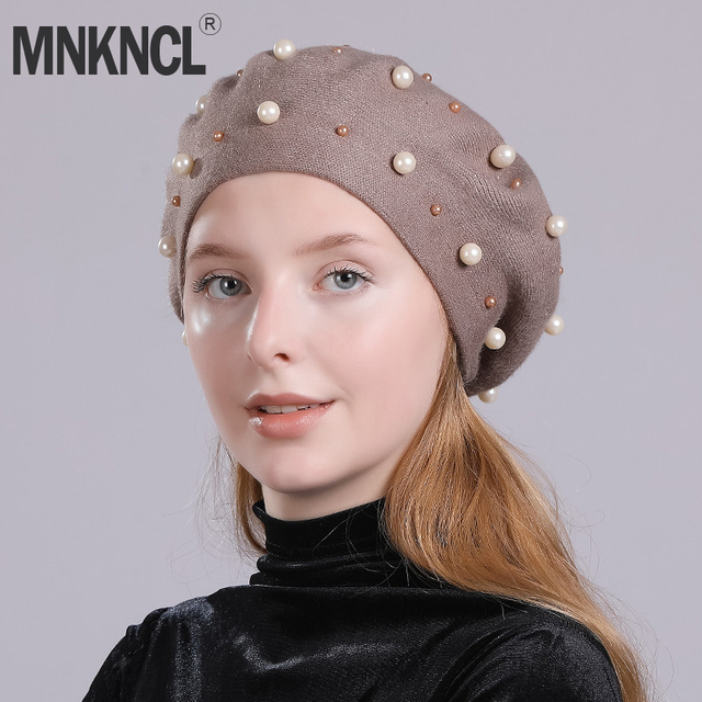 2c41fa14224de MNKNCL Fashion Pearl Berets Hat For Women Autumn Winter Cashmere Hats Beret  Female Knitted Beanies