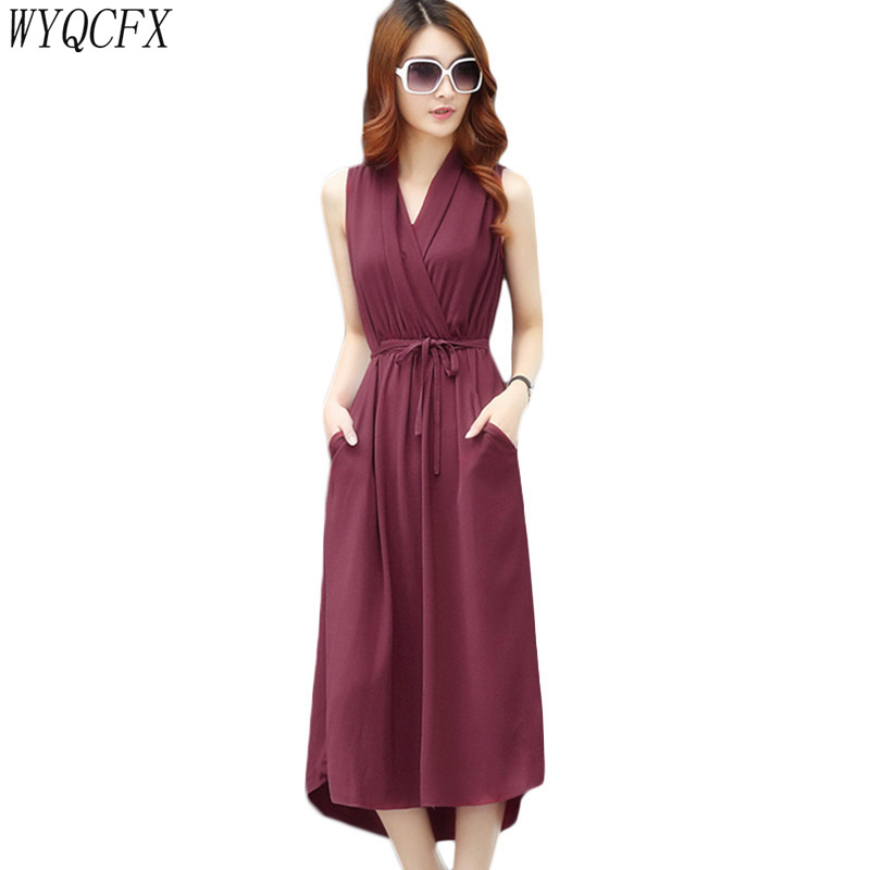 2019 New Sexy Dress Women Summer Sleeveless WIth Belt Chiffon Dresses  Korean V-Neck Pocket Elegant Beach Maxi Clothes Plus Size
