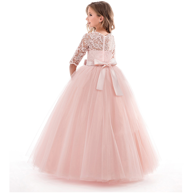 Summer Children Girls Long Dress Kids Flower Embroidery Dresses Pink Princess Costume Wedding Party Prom Clothes For Girls 6-14T dresses for girls high quality children dress long sleeve kids clothes summer dress flower girls dresses for party and wedding