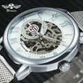FORSINING Mode Jurk Mechanische Vrouwen Horloges Top Merk Luxe Skeleton Dial Ultra Dunne Mesh Band Elegante Dames Horloge