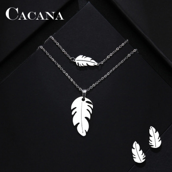CACANA Stainless Steel Sets For Women Feather Shape Necklace Bracelet Earring Jewelry 1