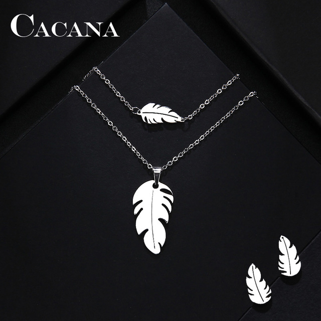 CACANA Stainless Steel Sets For Women Feather Shape Necklace Bracelet Earring Jewelry Lover's Engagement Jewelry S379 1