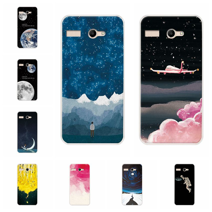 YOUVEI Couple Phone Case Fundas For Micromax Canvas Q346 Earth Moon Painted TPU Silicone Case Cover For Micromax Q346 4.5