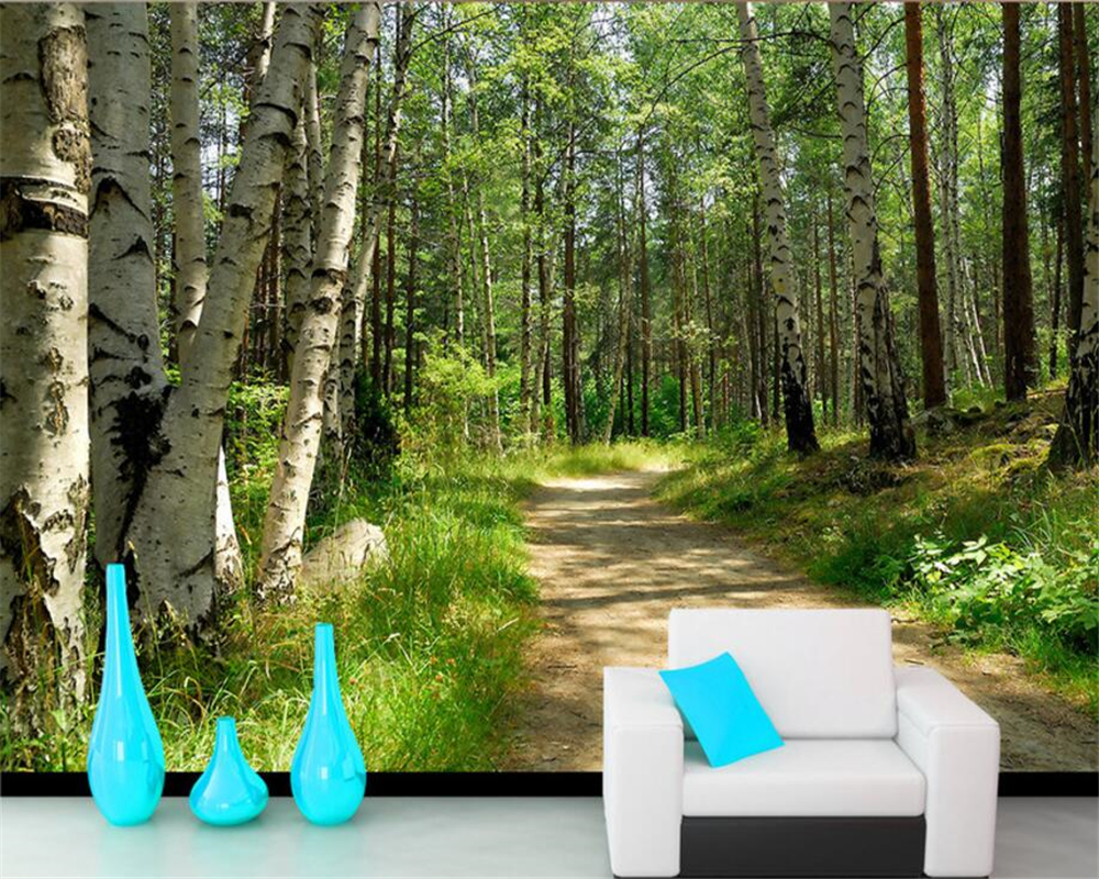 popular paper white birch buy cheap paper white birch lots from beibehang nature landscape green woods white birch landscape tv background wall 3d mural wallpaper modern decoration wall paper