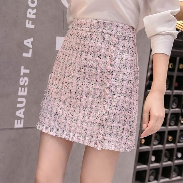 cfefa377c195 Women Twee Skirt 2018 Autumn Winter White Skirts Office Ladies Sweet Cute  Elegant Pink High Waist Fringe Tassel Short Skirt Pink
