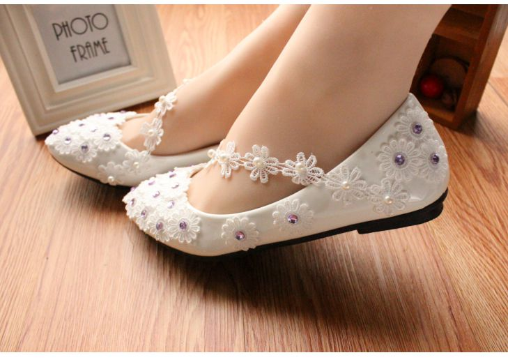 4f6e37f9a3 US $33.6 30% OFF|Flats wedding shoes white lace silver rhinestones sweet  handmade lace flower brides bridal bridesmaids wedding shoes-in Women's  Flats ...