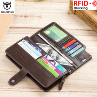 BULLCAPTAIN2019 Men Wallet Clutch Genuine Leather Brand Rfid Wallet Male Organizer Cell Phone Clutch Wrist Bag Long Coin Purse