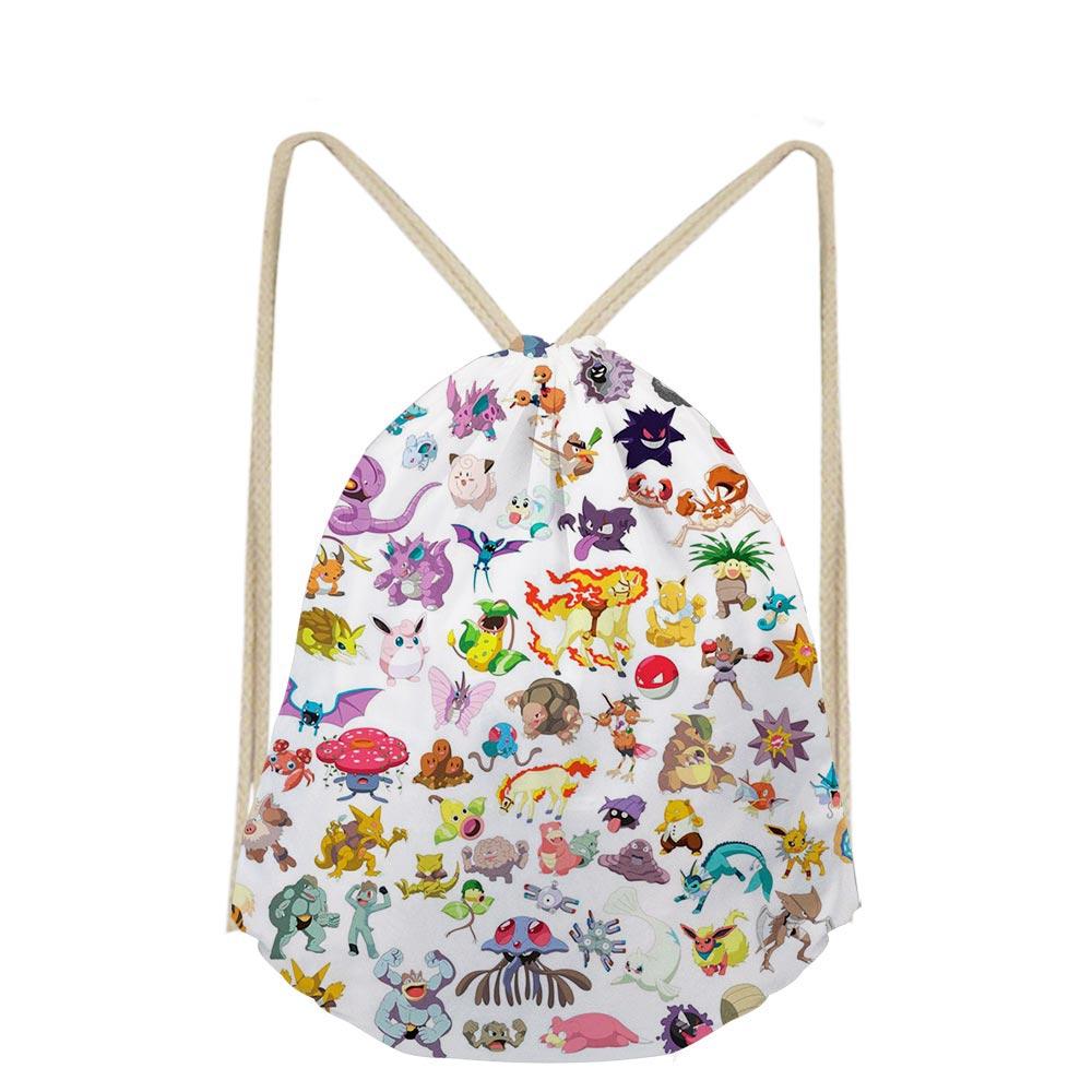 Us 7 2 40 Off 3d Anime Casual Cartoon Printed School Bags Bookbags For Boys Drawstring Bag S Kids Shoe Pocket String Shoulder Case In