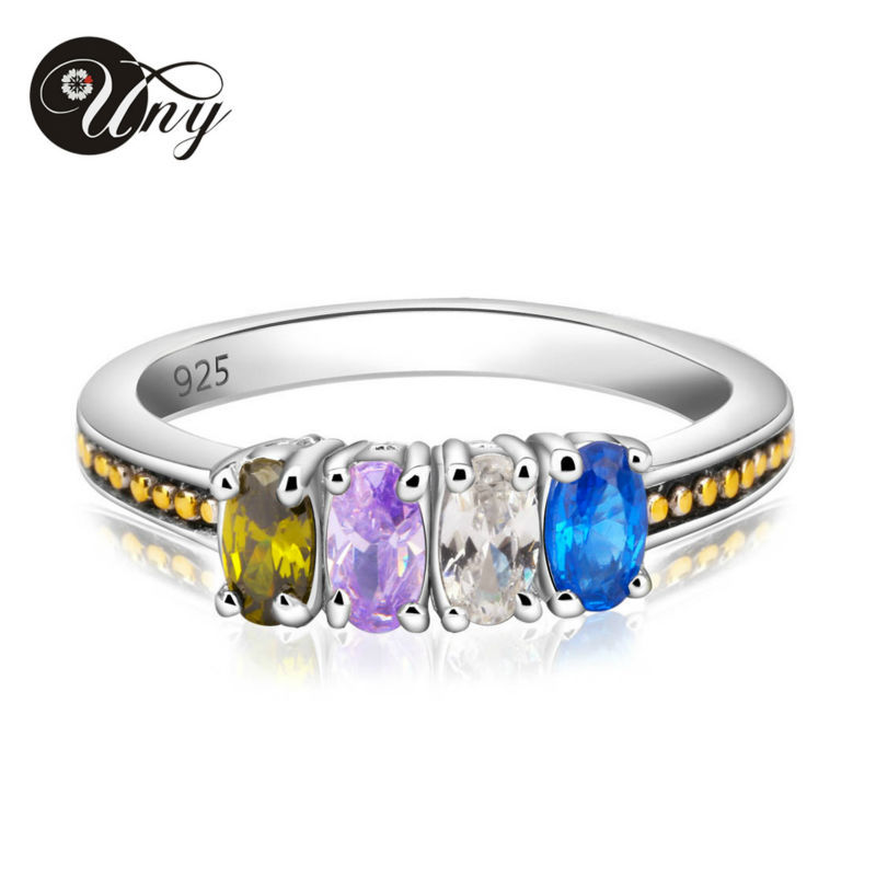 UNY Ring 925 Sterling Silver Custom Engrave Rings Family Heirloom Anniversary Mothers Gift Ring Personalized Birthstone DIY Ring