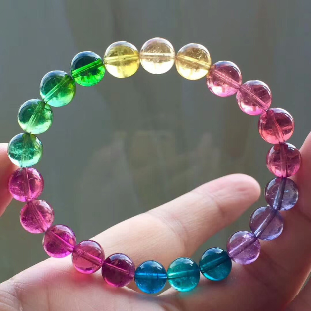 Drop Shipping Natural Brazil Colorful Tourmaline Bracelet For Women and Men Quartz 9mm Crystal Clear Round Beads Bracelet AAAAAA
