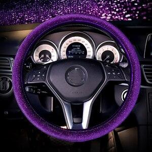Image 5 - Luxury Crystal Purple Red Pink Car Steering Wheel Covers Women Girls Diamante Rhinestone Car Covered Steering Wheel Accessories