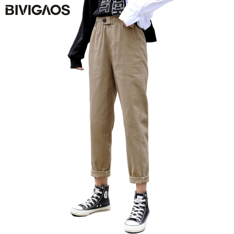 BIVIGAOS 2019 New Spring Women Clothing Straight Overalls Casual Harem Pants Korean Elastic Waist Triangle Buckle Cargo Pants