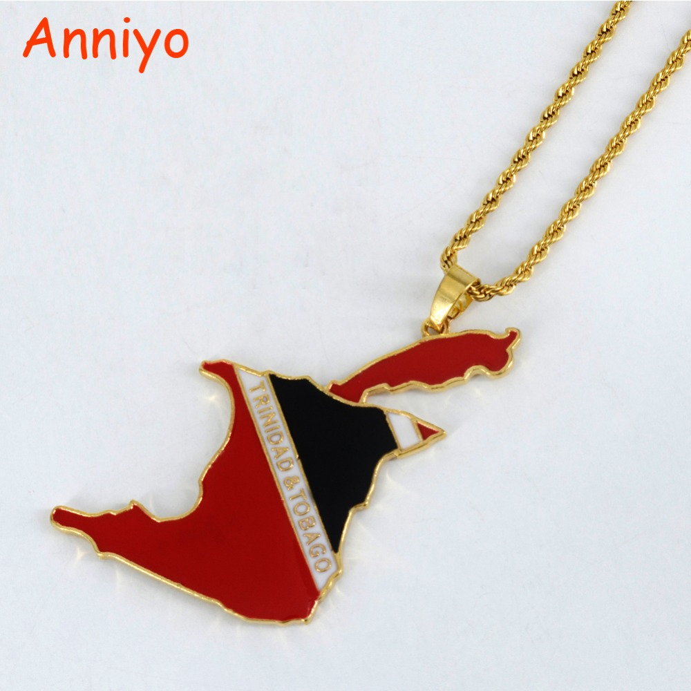 Anniyo BIG PENDANT Trinidad and Tobago Flag Map Necklaces 60CM CHAIN for Women/Men,Gold Color Jewelry Gift #062606