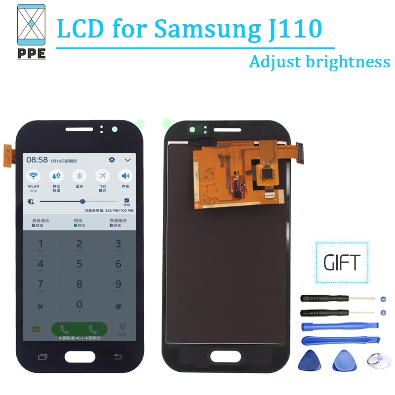 AAA Adjust Brightness Lcd For Samsung Galaxy J1 ACE J110 J110F Lcd Touch Screen Display Digitizer Glass For SM J110M J110H J110A