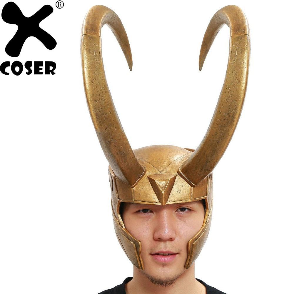 XCOSER Локи шлем Marvel ТОР Локи Косплей Костюм золотой, из ПВХ Полная Голова маска Хэллоуин Опора мужская вечерние Вечеринка Косплей Фирменная Н