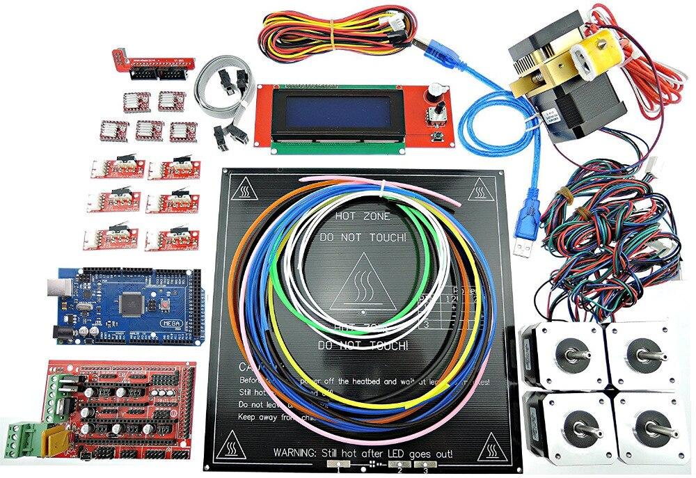 Imprimante 3D Kit complet rampes 1.4 + Mega 2560 + MK3 Heatbed + LCD2004 + moteur pas à pas + extrudeuse MK8 + A4988 + butée finale pour bricolage kit imprimante 3D