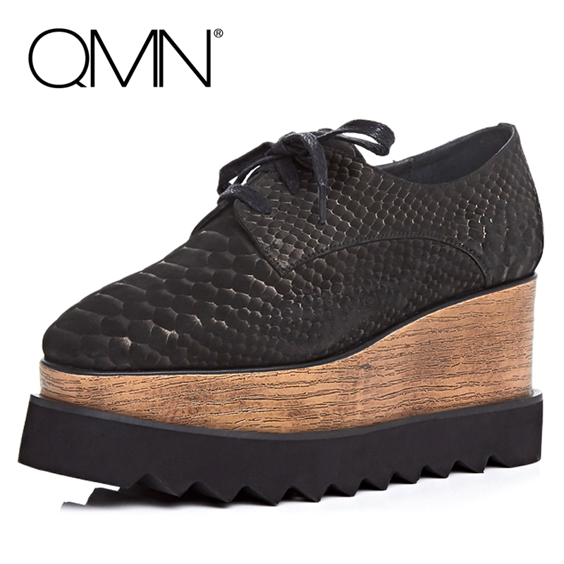ФОТО QMN women genuine leather platform flats Women Cow Leather Lace Up Shoes Retro Square Toe Platform Shoes Woman Creepers