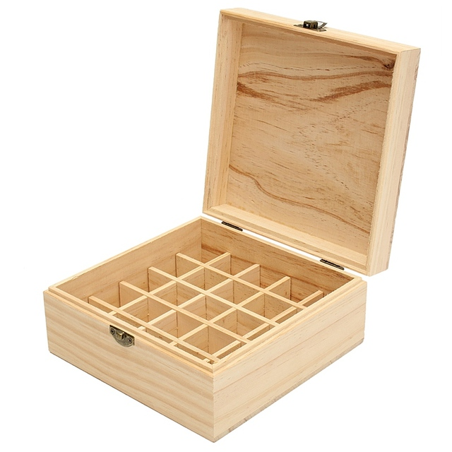 Simple Essential Oils Wooden Storage Box Engraved Bottles