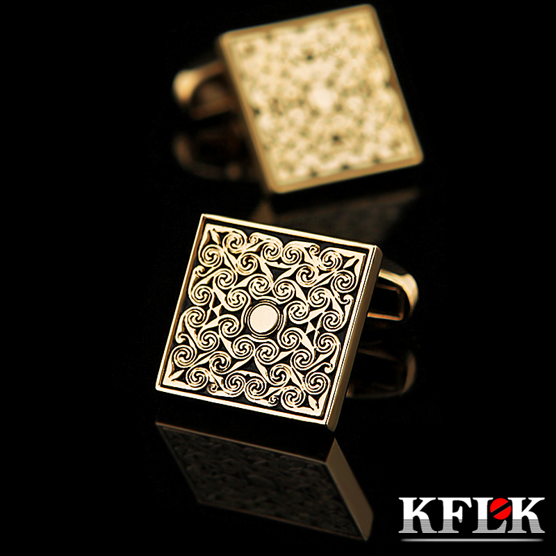 KFLK jewelry French shirt cufflinks for mens Brand Retro Cuff links Luxury Wedding Gold-color Button High Quality Free Shipping