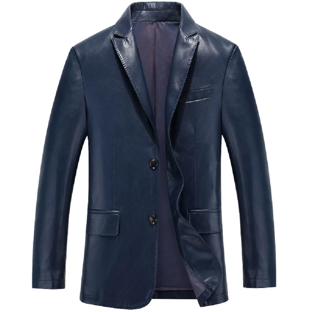 KUYOMENS Autumn Leather Jackets Mens PU Leather Jacket Coats Male Faux Leather Jackets Suit Collar Male Casual Overcoat