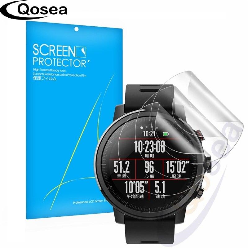 (3 PACK) Qosea Pour Xiaomi Huami Amazfit Stratos Rythme 2 Smartwatch Écran Protecteur Anti-Explosion Film 3X LCD Guard Shield Couverture