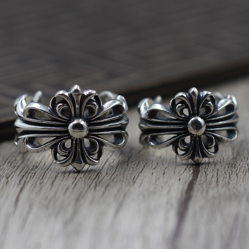 S925 Sterling Silver Jewelry Retro Personality Couple Models Ring Finger Ring Thai Silver Cross Army Flower Ring