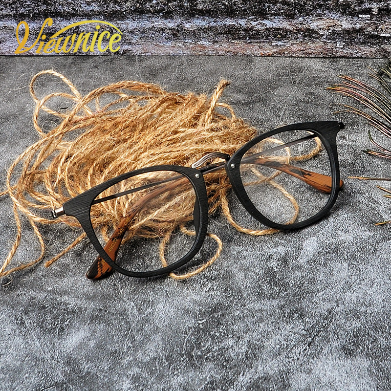 6d2963fdf84 Viewnice new Retro Mens Eyeglasses Wooden Acetate Frames Square Glasses  solid Women Myopia Eyewear Anti-
