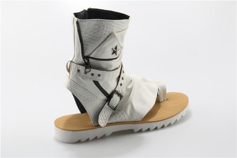 Couro Ch Casuais Sapatos Botas Sandalias Zipper Aberto Flats Verão Kwok Dedo Studded Fivela Rivet Sandálias Masculinas Mens Hombre De qZSqpPn