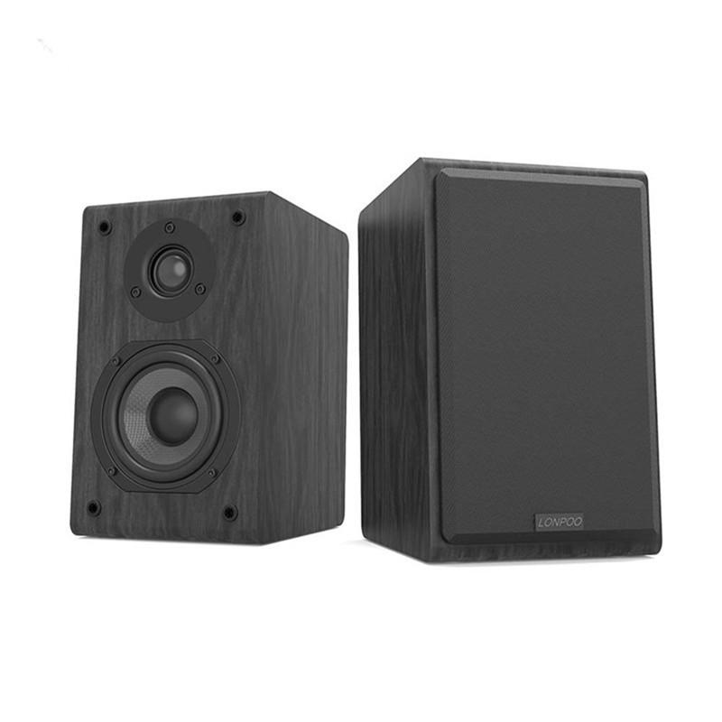 LONPOO Bookshelf Speaker Passive Pair 2-Way 75W *2 Classic Wooden Loudspeaker with 4-inch Carbon Fiber Woofer Tweeter Speaker 12